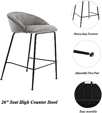 "Modern Bar Stools Set of 2, 26"" Counter Height Chairs Barstools Velvet Foam Padded Upholstered Barrel Back Counter Stools wit"