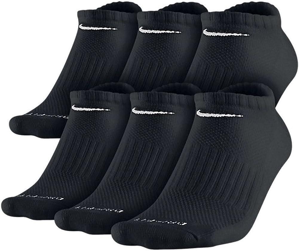 Nike Mens Dri-Fit Cotton No Show Black Socks 6-Pack Size Medium