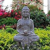 GCP Estatuas de jardín de Buda meditando con luz LED de energía Solar, esculturas de Buda Zen al Aire Libre, Regalo Budista Chino Feng Shui para decoración de Patio Porche