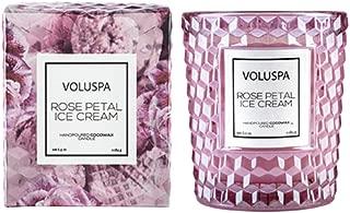 Voluspa Rose Petal Ice Cream Classic Textured Glass Candle, 6.5 ounces