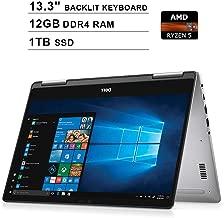 2019 Dell Inspiron 13 7000 13.3 Inch 2-in-1 Touchscreen FHD 1080P Laptop (AMD Ryzen 5 2500U up to 3.6GHz, 12GB DDR4 RAM, 1TB M.2 SSD, AMD Radeon Vega 8, Backlit KB, Bluetooth, WiFi, HDMI, Windows 10)