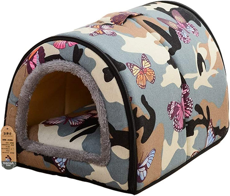 Pet house Pet Bed Nest Dual Use Washable Foldable Soft Warm Detachable Cushion For Dog Cat Puppy Rabbit Pet Bed Hole Y (color   C, Size   L)