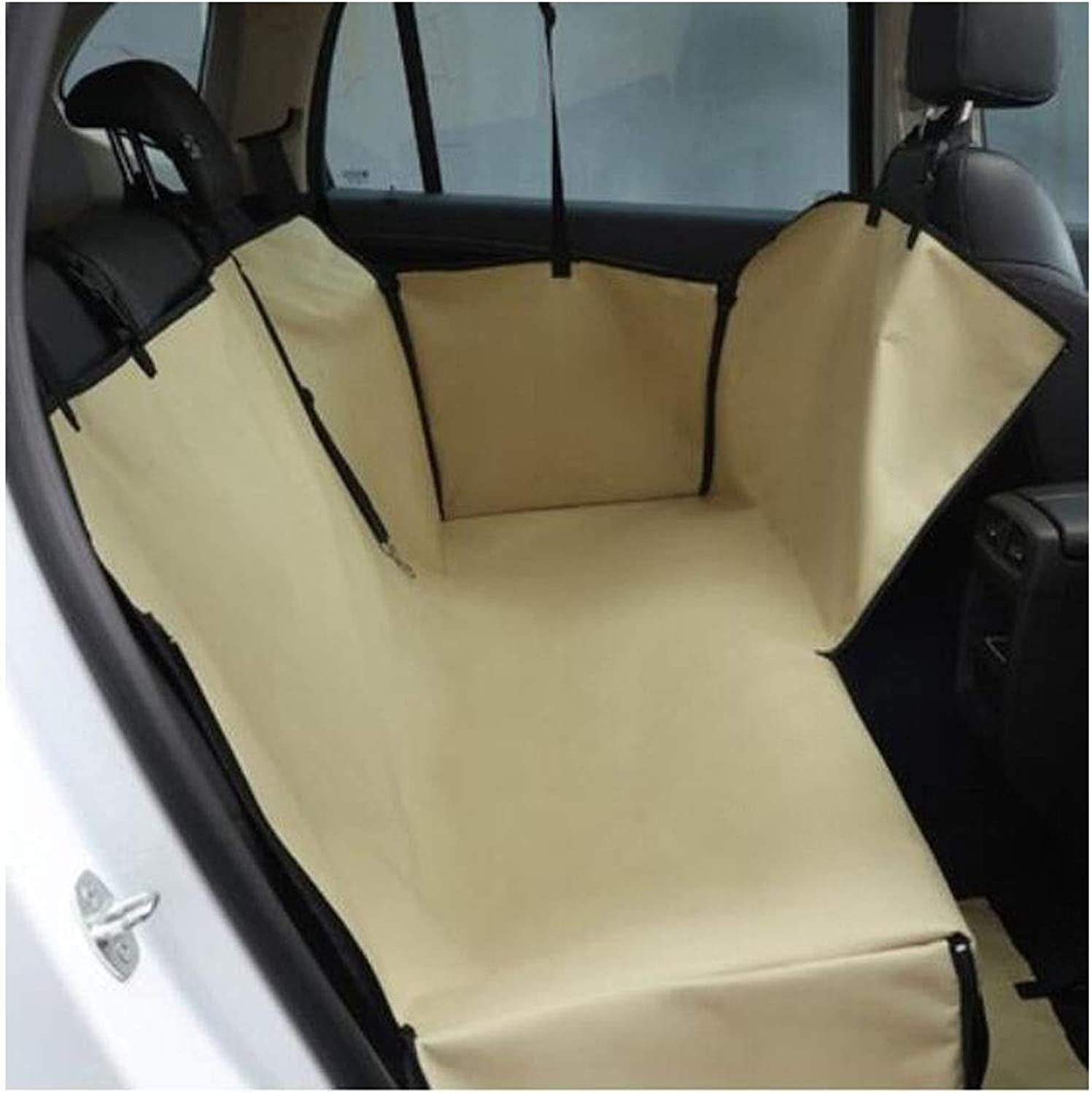 Dog car seat Cover, Dog Artifact car Rear seat Anti-Dirty Safety seat Hammock Heavy Duty Non-Slip Waterproof and Durable, Camouflage, Brown 135  145cm (color   Khaki, Size   135  145cm)