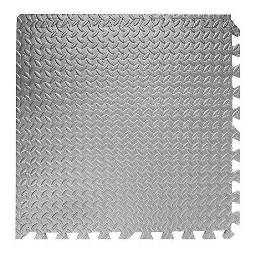 TENGXI 16 Piezas Esterilla Puzzle para Suelos de Gimnasio y Fitness EVA Suelo Goma Alfombrilla Gimnasia Estilo de Alfombrillas de Espuma para Protección (Silver,16pcs)