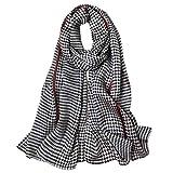 STORY OF SHANGHAI Bufandas de 100% Seda Flores Pañuelo de Morera Grande Mujer Chal Wraps Estolas Madre y Regalos Alta 170cm*55cm,Negro a Cuadros