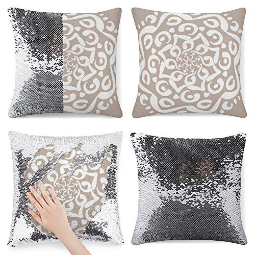 Tamengi Sequin Pillow Cover, Wool Mandala Round, Zipper Pillowslip Pillowcase, Decorations for Sofas, Armchairs, Beds, Floors, Cars