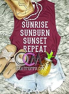 Sunrise Sunburn Sunset Repeat Tank, Sunrise Sunburn Sunset Lyric Tank, Country Concert tank- Muscle Tank