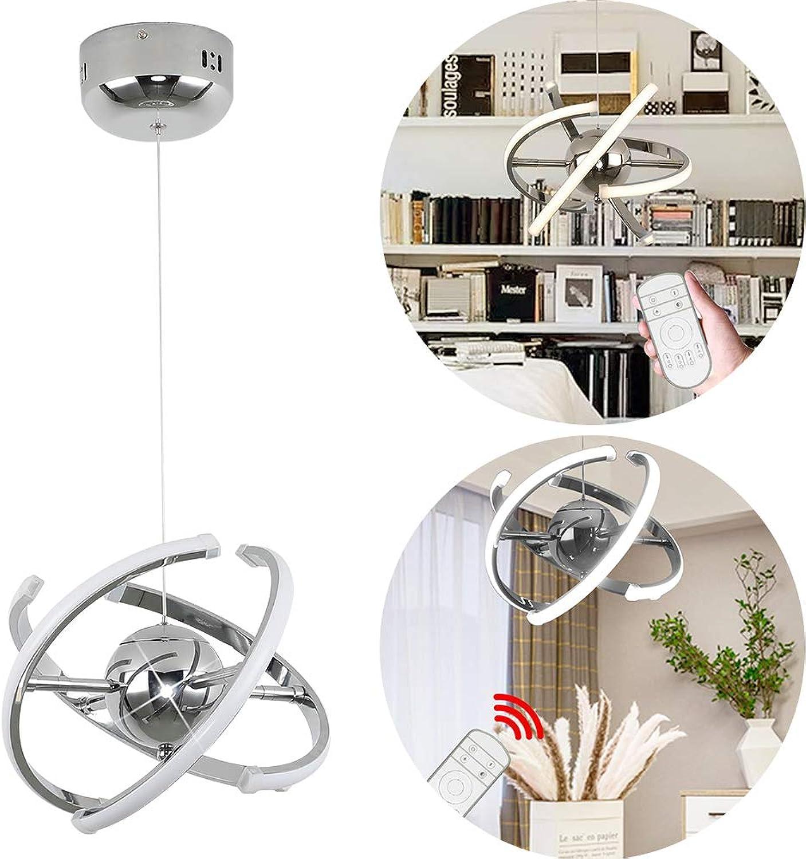 FROADP LED Kronleuchte Satellit-Form Hngelampe mit Deform Acryl Ringlichtleiste Aluminium Pendelleuchte IP20 für Büro Wohnzimmer Esszimmer Arbeitszimmer(32W Dimmbar, φ28x150cm)
