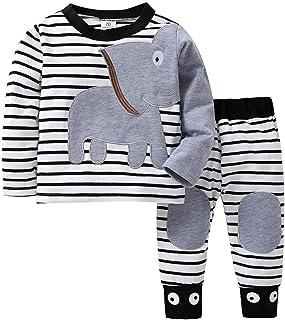 Babykleidung Zhen Zhen Baby Kleidung Sets Sweatshirt  Hosen 0-24 Monate Baby Jungen Mädchen Langarm Elefant Druck Pullover mit Streifen Stretch Pants Herbst Winter Outfits Set - Kauf 2 Stück 10% sparen