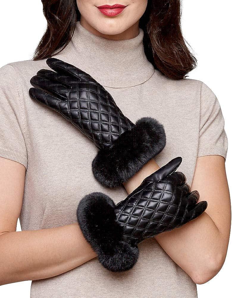 frr Diamond Quilt Leather Glove with Black Rex Rabbit Cuff
