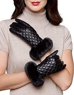 frr Diamond Quilt Leather Glove with Rex Rabbit Cuff