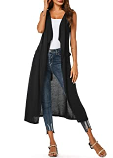Women's Sleeveless Open Front Drape Long Cardigan Duster Vest with Pockets and Belt