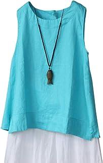 IXIMO Women's 100% Linen Sleeveless Tank Tops Summer Shirts Casual Blouses