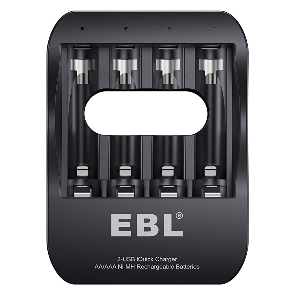 優勢スクワイアグレートバリアリーフEBL 電池充電器 急速充電器 単三単四ニッケル水素 1-4本まで単三/単四型充電池対応 USB入力付き