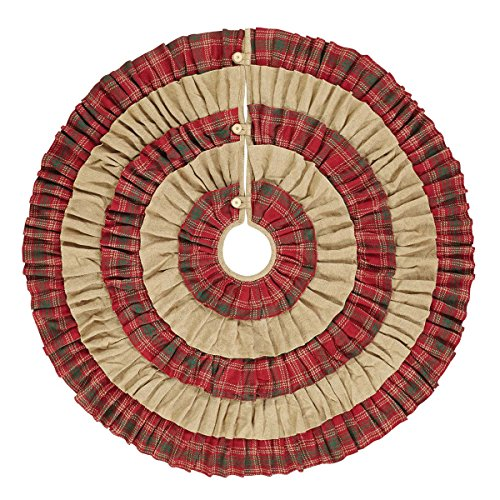 VHC Brands Christmas Holiday Decor - Whitton Red Tree Skirt, King