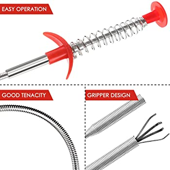 SENHAI 7 Pack Sewer Dredging Tools, 20 inch Hair Drain Clog Remover Drain Relief Auger Cleaning Tool (2 Stainless Ste...