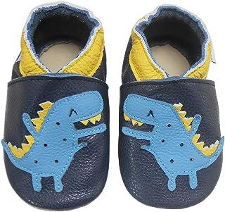 Bemesu Chaussons pour bébé - Chaussons en cuir souple - Pour fille et garçon - Bleu foncé - Crocodile - Taille EU 21-22