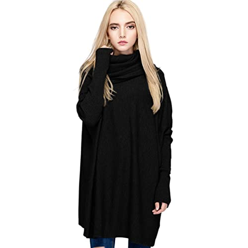 0043891622 Women s Cowl Neck Loose Knit Top Cable Oversized Pullover Sweaters