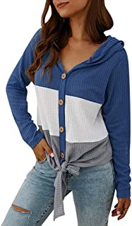 🍒 Spring Color 🍒 Women V Neck Stripe Color Block Hoodie Shirt Tie Knotted Waffle Knitt Long Sleeve Button Tops Blouse
