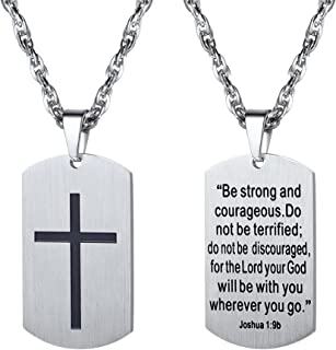 Stainless Steel Cross Jewelry, Mens Womens Jewelry, Dog Tags Pendant, Military Tag with Words, Inspirational Necklace