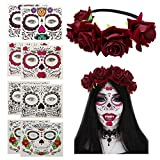 Luhiew Rose Flower Hair Garland with 8 Sheets Stickers for Halloween Costume and Day of The Dead
