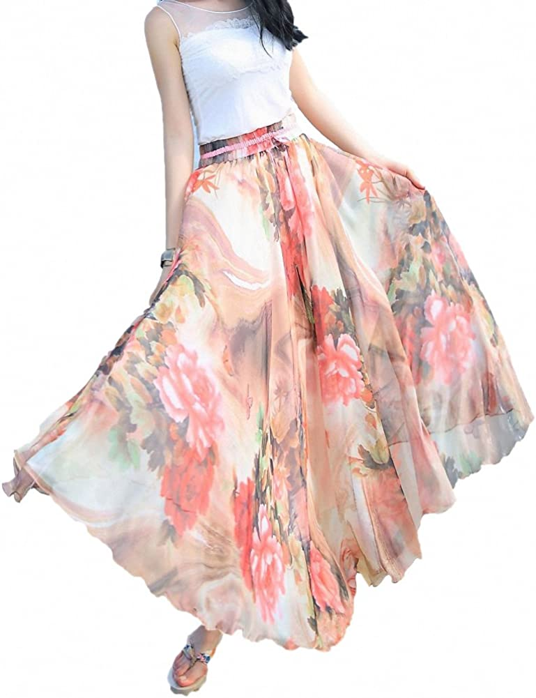 Sinono Women's Floral Maxi Chiffon Long Skirts Full Length Beach Skirt