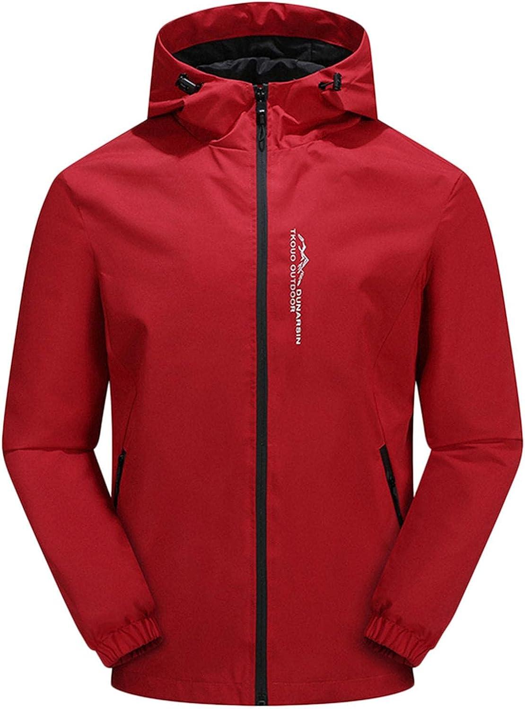 Waterproof Jackets for Men Lightweight Hooded Full Zip Up Long Sleeve Solid Color Jacket Outdoors Running Windbreaker Coat