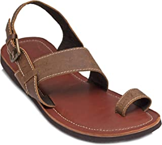 tZaro Genuine Leather Tan & Brown Slippers - Gladiator, SLPCLDGLD1908