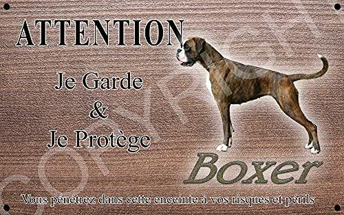 Pets-Easy.com Attention Chien de Garde personnalisée Chiot Boxer - pré perforée et vis données. De 30 cm à 15 cm…