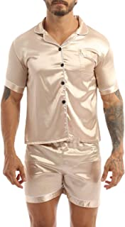 TSSOE Men's Short Sleeve Pjs Pyjamas Satin Sleepwear Set Nightwear Button-Down Loungewear