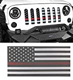 Hooke Road Thin Red Flag Grill Insert Grille Deflector Guard Compatible with Jeep JK Wrangler 2007-2018