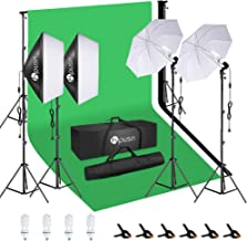 HPUSN Softbox Lighting Kit Studio Lighting Kit with 2 20-in X 28-in Reflectors and 2 Soft Umbrellas, 4pcs E27 85W 5500K Bulb and Max 8.5ft x 10ft Background Support System for Photography Video, etc. photo