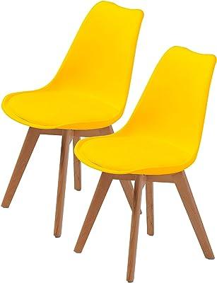 La Bella Replica Eames PU Padded Dining Chair - Yellow X2