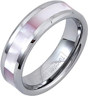 JewelryWe - Anello da donna molto lucido, in acciaio tungsteno, larghezza 6 mm, con pochette inclusa (dimensioni anello op...