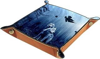 ATOMO Plateau de rangement en cuir - Loup - Forêt sombre - Animal - Pour clés, bijoux, pièces de monnaie - Organisateur de...