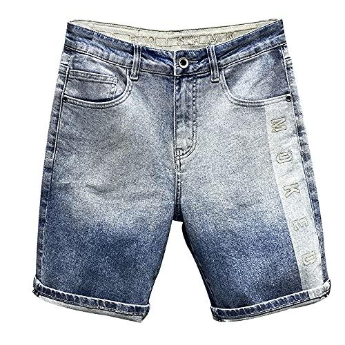 HSDFKD Pantalones Cortos para Hombre Pantalones Cortos De Mezclilla Elásticos con Letras Bordadas Rectas, Azul, 30