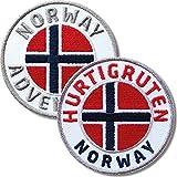 Club of Heroes 2er Set Norwegen + Hurtigruten Abzeichen 60 mm gestickt/Norway Postschiff Fjorde/Aufnäher Aufbügler Sticker Wappen Patches für Kleidung Rucksack/Reiseführer Abenteuer...