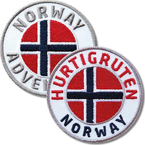 Club of Heroes 2er Set Norwegen + Hurtigruten Abzeichen 60 mm gestickt/Norway Postschiff Fjorde/Aufnäher Aufbügler Sticker Wappen Patches für Kleidung Rucksack/Reiseführer Abenteuer Flagge Fahne Land
