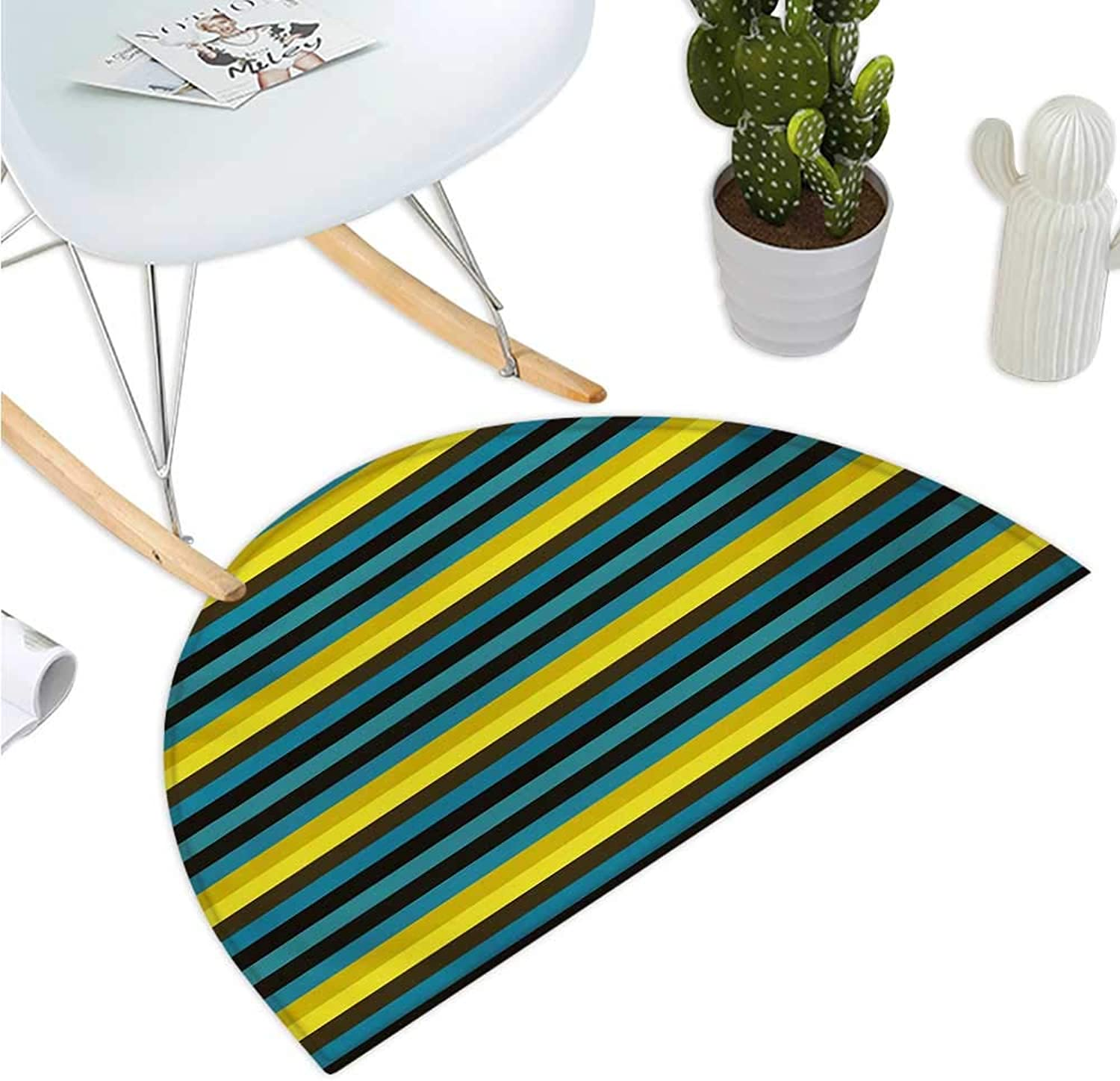 Retro Semicircular Cushion Striped Geometric Pattern with Funky colorful Lines Horizontal Illustration Print Entry Door Mat H 51.1  xD 76.7  Multicolor