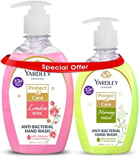 Yardley Antibacterial Handwash 500ml + 250ml Free (London Rose+Morning Fresh)