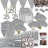 Silberhochzeit Party Deko Set XL 103-teilig 25 Jahre Jubiläum Silber Hochzeit Kit