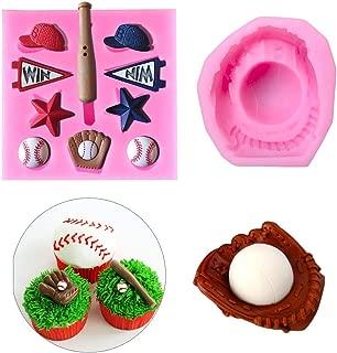 2Pcs/Set Baseball Fondant Mold for Cake Cupcake Decorating, Baseball Softball Glove Silicone Chocolate Candy Sugar Paste Mold, Sport Themed Party Soap Favors