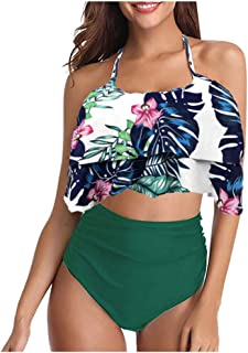 BALABA❥Women Sexy Adjustable Spaghetti Strap Ruffle Bikini Set Brazilian Swimwear Beachwear Floral Print Padded Swimsuit