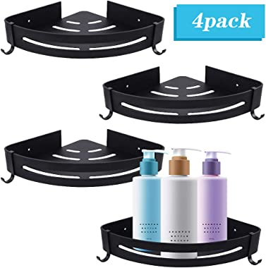 Brobery 4 Packs Corner Shower Shelf, Black Corner Shower Caddy with Hooks, No Drilling Wall Mounted Bathroom Shelf with Adhesive, Storage Organizer for Toilet, Dorm and Kitchen