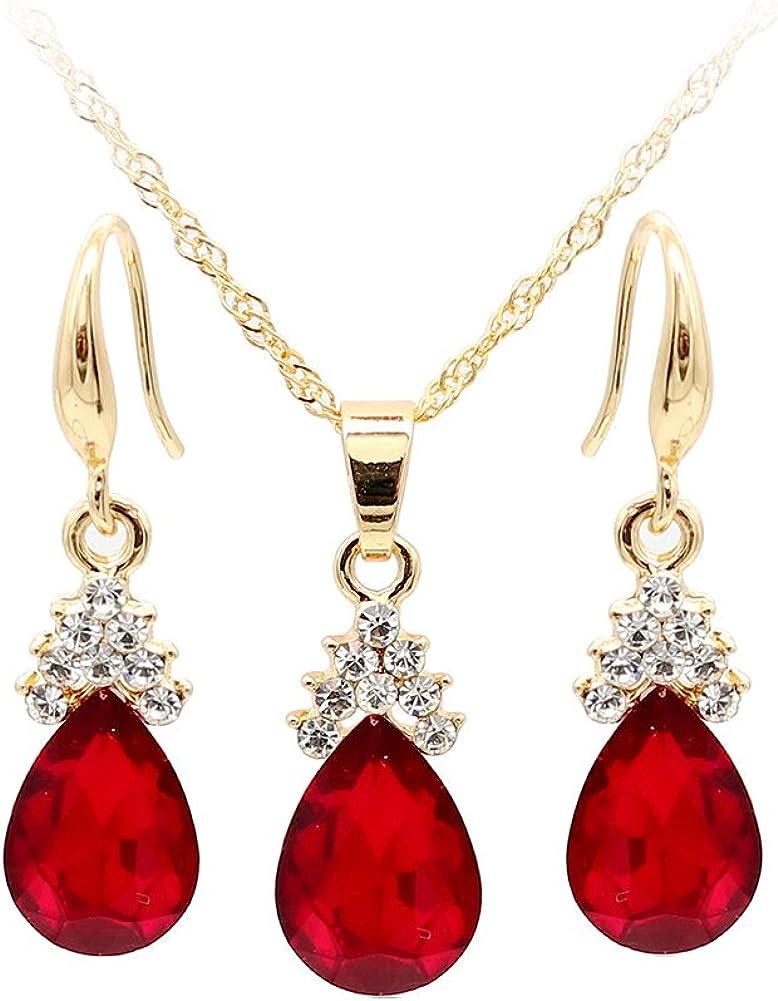 Wintefei Vintage Teardrop Rhinestone Women Jewelry Set Necklace Hook Earrings Pendants