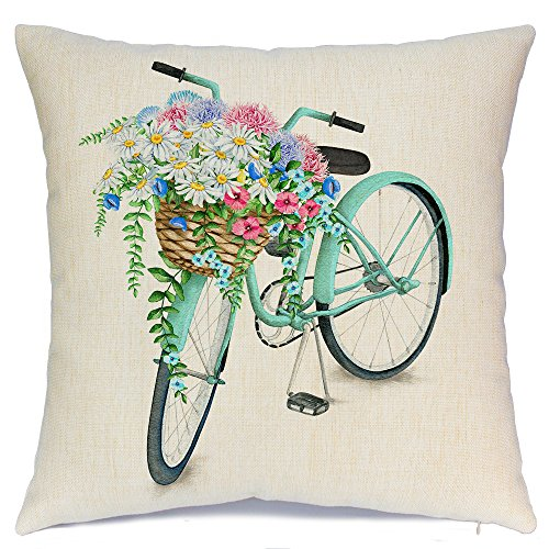 AENEY Blue Bicycle Flower Vintage Spring Home Decorative Throw Pillow Case Cushion Cover Cotton Linen Home Decor for Couch Sofa Bed Chair 18 X 18 Inch