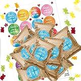 Logbuch-Verlag 24 Bunte SCHÖN DASS ES Dich GIBT Give-Aways - Gummibärchen + Aufkleber als kleines Geschenk für Kunden Freunde Gäste