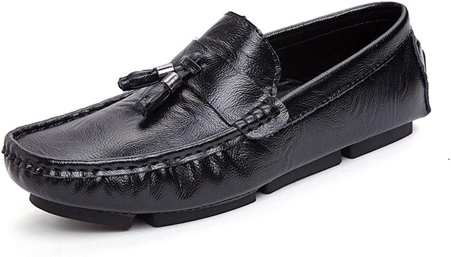 Fashion Lightweight Driving Loafer for Men Moccasins Slip On Style Microfiber Leather Classic Tassel Flexible Boat Men's Boots (color   Black, Size   6 UK)