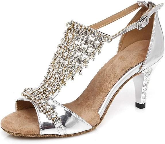 Diahommet Cuir PU Lanière Cheville Boucle Chaussures de Danse Latine Diahommet Tango Salsa Open Toe Talons Hauts