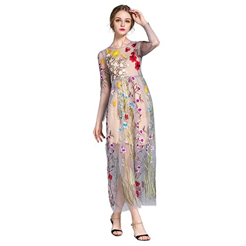 5d180ae8667 DEZZAL Women s Floral Embroidered Tulle Prom Maxi Dress with Cami Dress